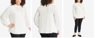Lauren Ralph Lauren Plus Size Tie-Neck Georgette Top