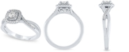 Macy's Diamond Cushion Halo Engagement Ring (3/8 ct. t.w.) in 14k White Gold