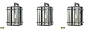 ELK Lighting Glass Tower 1 Light Outdoor Wall Sconce in Matte Black with Clear Glass