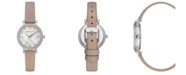BCBGMAXAZRIA Ladies Pink Leather Strap Watch with Light MOP Dial, 30mm