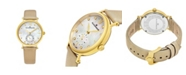 Stuhrling Alexander Watch A201-02, Ladies Quartz Small-Second Watch with Yellow Gold Tone Stainless Steel Case on Gold Satin Strap