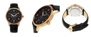 Stuhrling Alexander Watch A102-04, Stainless Steel Rose Gold Tone Case on Black Embossed Genuine Leather Strap