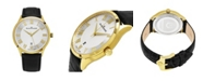Stuhrling Alexander Watch A103-03, Stainless Steel Yellow Gold Tone Case on Black Embossed Genuine Leather Strap