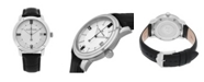 Stuhrling Alexander Watch A111-02, Stainless Steel Case on Black Embossed Genuine Leather Strap