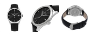 Stuhrling Alexander Watch A911-01, Stainless Steel Case on Black Embossed Genuine Leather Strap