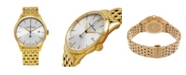 Stuhrling Alexander Watch A911B-08, Stainless Steel Rose Yellow Tone Case on Stainless Steel Yellow Gold Tone Bracelet