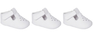Baby Deer Baby Girl Leather T-Strap Crib Shoe with Perforations