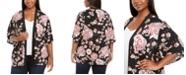 Belldini Plus Size Floral-Print Open-Front Cardigan