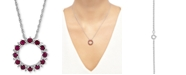 """Macy's Certified Ruby (1-1/5 ct. t.w.) & White Topaz (1/10 ct. t.w.) Circle 18"""" Pendant Necklace in Sterling Silver"""
