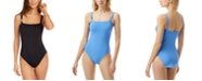 Michael Kors Square-Neck Underwire Logo One-Piece Swimsuit