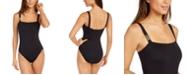 Michael Kors Square-Neck Underwire Logo One-Piece Swimsuit