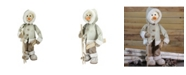 """Northlight 21.5"""" White and Brown Skiing Snowman Christmas Figure Decoration"""