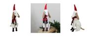 "Northlight 21.5"" White and Gray Sitting Greyhound Dog in Santa Hat Christmas Decoration"
