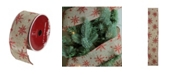 """Northlight Red Star and Beige Burlap Wired Christmas Craft Ribbon 2.5"""" x 10 Yards"""
