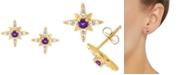 Macy's Amethyst (1/8 ct. t.w.) & White Topaz (1/4 ct. t.w.) Star Stud Earrings in 14k Gold
