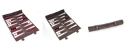 Bey-Berk Suede Roll-Up Backgammon Travel Set with Playing Pieces Included