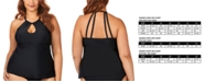 Raisins Curve Trendy Plus Size Juniors'  Solid Rosalie Underwire High Neck Tankini Top