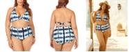 Raisins Curve Trendy Plus Size Juniors' Fiji Printed Barbados Slider Halter Bikini Top & High-Waist Bottoms