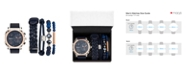 American Exchange Men's Navy/Rose Gold Analog Quartz Watch And Stackable Gift Set
