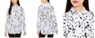 Alfani Printed Long sleeve knit button front top , Created for Macy's