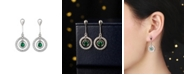 A&M Silver-Tone Emerald Accent Circle Drop Earrings
