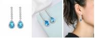 A&M Silver-Tone Aqua Drop Earrings