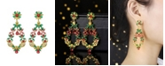 A&M Gold-Tone Emerald and Ruby Accent Earrings