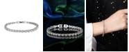 A&M Silver-Tone Round White Topaz Accent Tennis Bracelet
