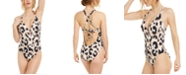 Bar III Leopard Tummy-Control One-Piece Swimsuit, Created for Macy's