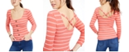 Crave Fame Juniors' Buttoned Cross-Back Top