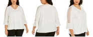 Kasper Plus Size Lace-Trim Blouse