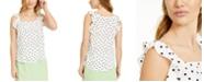 Bar III Dot-Print Ruffled Woven Top, Created for Macy's