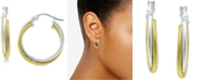 """Giani Bernini Small Two-Tone Overlap Hoop Earrings in Sterling Silver & 18k Gold-Plate, 0.78"""", Created for Macy's"""