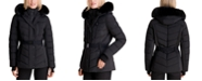 Michael Kors Belted Faux-Fur Trim Hooded Puffer Coat