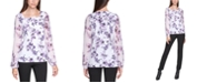 Calvin Klein Plus Size Printed Chiffon-Sleeve Top
