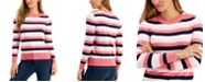 Charter Club Striped Button-Detail Sweater, Created for Macy's