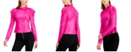 Bar III Metallic Long Puffed Sleeve Top, Created for Macy's