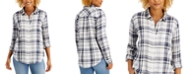 Style & Co Cotton Plaid Button-Down Shirt, Created for Macy's