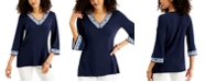 JM Collection Printed V-Neck Top, Created for Macy's