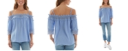 BCX Juniors' Off-The-Shoulder Crochet Trim Top