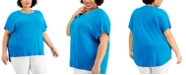 Calvin Klein Plus Size Button-Sleeve Top
