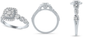 Macy's Diamond Halo Cluster Engagement Ring (3/4 ct. t.w.) in 14K White Gold