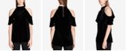 Calvin Klein Velvet Cold-Shoulder Top