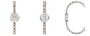 BCBGMAXAZRIA Ladies Two Tone Rose Gold Bracelet Watch with Silver Dial, 20mm