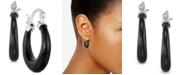 Macy's Onyx (20mm) Hoop Earrings in Sterling Silver