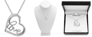 "Macy's Diamond Love Heart 18"" Pendant Necklace (1/10 ct. t.w.) in Sterling Silver"