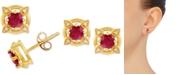 Macy's Certified Ruby (5/8 ct. t.w.) & Diamond Accent Stud Earrings in 14k Gold