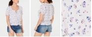 Ultra Flirt Juniors' Printed Ruffled Cap-Sleeve Top