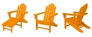 """Hanover All-Weather Contoured Adirondack Chair with Hideaway Ottoman - 37.5"""" x 29.75"""" x 48"""""""
