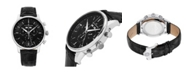Stuhrling Alexander Watch A101-02, Stainless Steel Case on Black Embossed Genuine Leather Strap